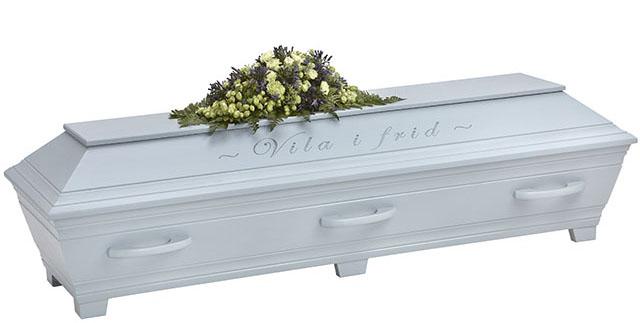 Kullamark begravningskista Duvblå