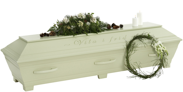 Kullamark begravningskista Lindblomsgrön